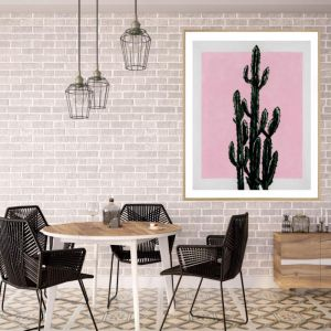 Cactus on Rectangle | P4007 Pink | Framed Print | Colour Clash Studio