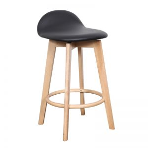 Calay Stool | Natural and Black Vinyl | Bohemio Furniture