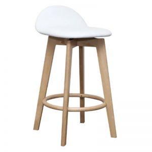 Calay Stool   Natural and White Vinyl   Bohemio Furniture