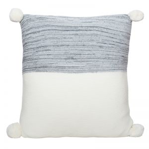 Calgary Pom Pom Knitted Cushion | Charcoal
