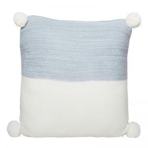 Calgary Pom Pom Knitted Cushion | Grey