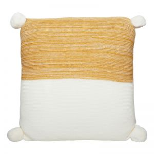 Calgary Pom Pom Knitted Cushion | Mustard