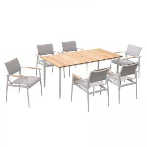 California 7 Piece Dining Set | White