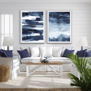 Calm | Two Piece Hamptons Blue Watercolour | Canvas or Art Prints