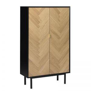 Calvi Tall Sideboard 95Cm |  Natural & Black