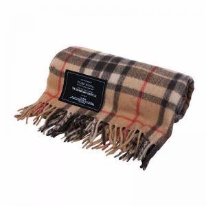 Camel   Recycled Wool Scottish Tartan Blanket