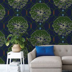 Camilla - Nature's Glamour | Eco Wallpaper | Camilla Deep Blue | Amba Florette