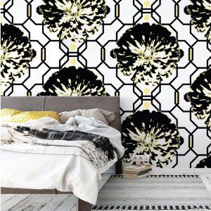 Camilla - Nature's Glamour | Eco Wallpaper | Camilla Yellow Black | Amba Florette