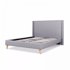 Camille Fabric Wing Bed Frame   King   Rhino Grey with Natural Legs
