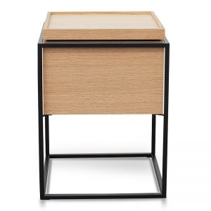 Cane Scandinavian Side Table In Oak | Black Frame