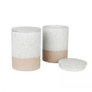 Canisters Set of 2   White Garden to Table