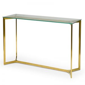 Cannon 1.2m Glass Console Table | Gold Base | Interior Secrets