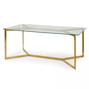 Cannon Glass Dining Table | Gold Base