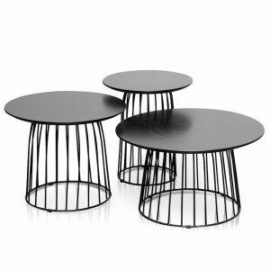 Carmella Round Side Table Set - Black Oak
