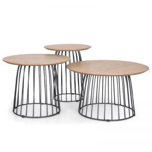 Carmella Side Table Set - Natural - Black