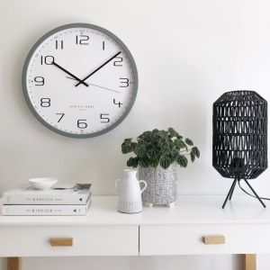 Carmen Cool Grey Silent Sweep Wall Clock 30cm by One Six Eight London