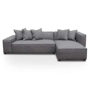Casey 2 Seater Right Chaise Sofa | Smoke Grey | Interior Secrets