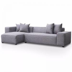 Casey 3 Seater Left Chaise Fabric Sofa - Graphite Grey
