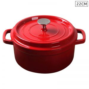 Cast Iron 22cm Enamel Porcelain Stewpot Casserole Stew Cooking Pot With Lid 2.7L Red
