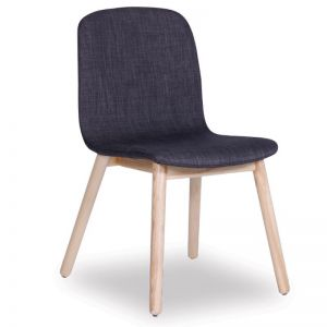 Castle Scandinavian Timber Dining Chair | Natural American Ash in Charcoal Linen Upholstered Seat