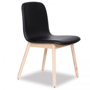 Castle Scandinavian Timber Dining Chair | Natural American Ash with Black Upholstered Seat