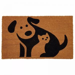 Cat & Dog Doormat | Phthalate Free PVC Backed | Natural / Black
