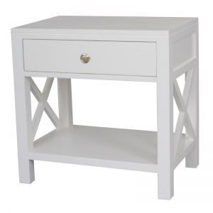 Catalina Crossed White Bedside | Side Table