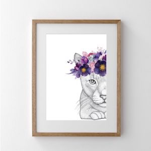 Catherine the Cat with Flower Crown