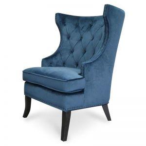 Cecilia Wingback Armchair | Navy Blue Velvet