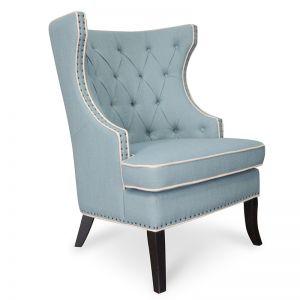 Cecilia Wingback Fabric Armchair - Light Blue