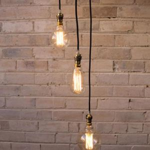 3 drop ceiling pendant cord with edison light bulbs