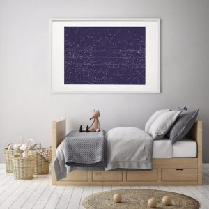 Celestial Star Map Navy   Print   Stretched Canvas or Printed Panel