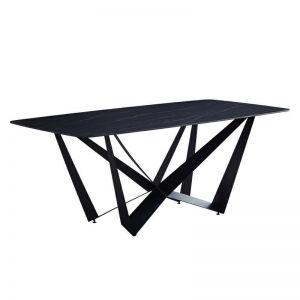 Celine Stone Dining Table   180Cm   Black