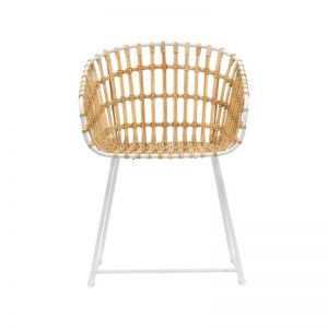 Cesta Dining Arm Chair | Natural White with Natural Linen Cushion