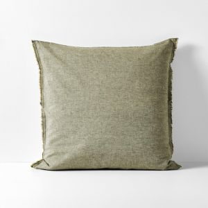 Chambray Fringe European Pillowcase | Olive by Aura Home