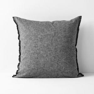 Chambray Fringe European Pillowcase | Smoke by Aura Home