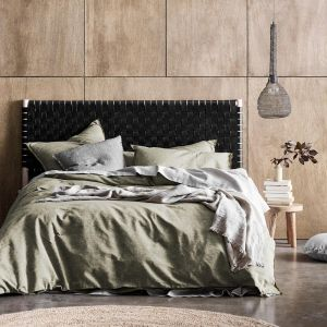 Chambray Fringe Quilt Cover   Olive by Aura Home