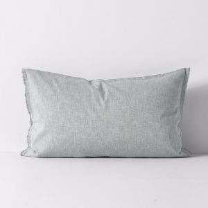 Chambray Fringe Standard Pillowcase | Limestone | by Aura Home