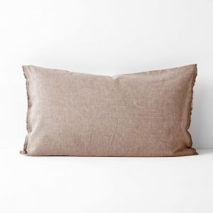 Chambray Fringe Standard Pillowcase | Pink Clay by Aura Home