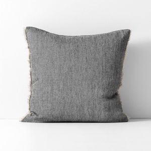 Chambray Linen Cushion | Black by Aura Home