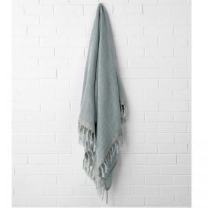 Chambray Linen Throw | Cloud Blue by Aura Home