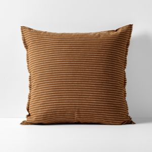 Chambray Vintage Stripe European Pillowcase | Cinnamon by Aura Home