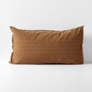 Chambray Vintage Stripe Standard Pillowcase | Cinnamon by Aura Home