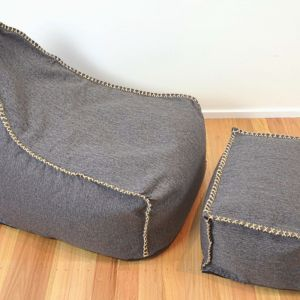 Charcoal Weave Bean Bag and Foot Stool
