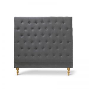 Charlotte Chesterfield Bedhead | King Single | Charcoal | by Black Mango