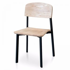 Chelsea Wooden Dining Chair - Matt Black - Natural Seat