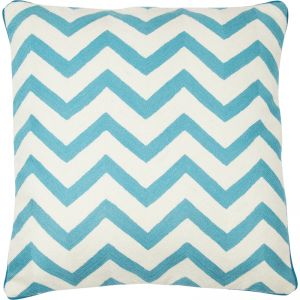 Chevron Hand Embroidered Cushion | Turquoise | Schots