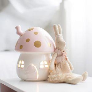 Children's Nightlight Pink and Gold Fairy Toadstool Light