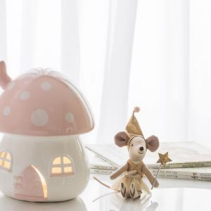 Children's Nightlight Pink and White Toadstool Light