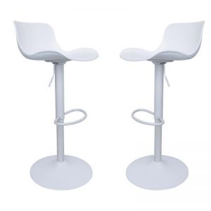 Chotto Height Adjustable Gas Lift Bar Stools | Set of 2 | White